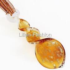 Gold Brown Swirl Handmade Lampwork Glass Murano Bead Pendant Ribbon Wax Necklace