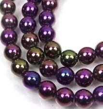 50 Czech Glass Round Beads - Iris - Purple 6mm