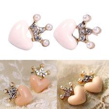 1Pair Fashion Women Austrian Crystal Crown Pink Pearl Heart Ear Stud Earring New