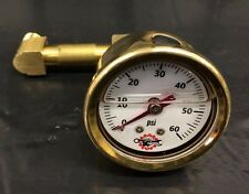 BRASS IRONHEAD SPORTSTER OIL PRESSURE GAUGE pipe MOUNT bobber chopper white 60