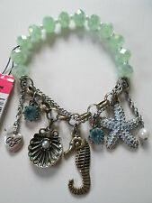 NWT Auth Betsey Johnson Nautical Seahorse Starfish Charm Beaded Stretch Bracelet