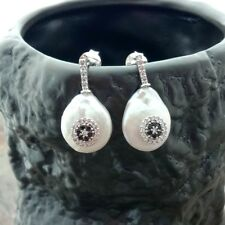 14MM White Coin Pearl Earrings Cz Pave Stud