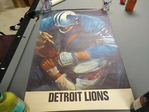 Rare Vintage 1960's David Boss Poster Detroit Lions 24 x 36 inches Original NFL