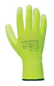 Portwest Unisex Yellow PU Palm Work Glove 12 Pairs