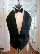 MENS VINTAGE PLAID FORMAL VEST PEAK LAPEL GREEN & BLUE MATCHING TIE SIZE OSFA
