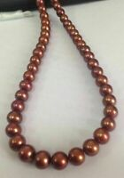 "AAA 18"" 9-10 MM SOUTH SEA NATURAL Chocolate PEARL NECKLACE 14K GOLD CLASP"