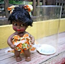 """VTG MEXICO ELIZABETH AFRO-AMERICAN RUBBER 8.5"""" DOLL ROOTED HAIR-JOINTED W/OB"""