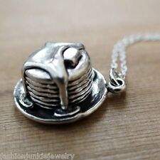 Stack of Pancakes Necklace - 925 Sterling Silver - 3D Charm Breakfast Food NEW