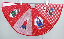 "VINTAGE QUILTED 33"" CHRISTMAS TREE SKIRT RED GINGHAM - SANTA ANGEL SNOWMAN TREE"