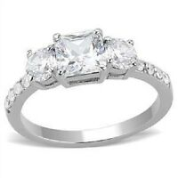 Women's Stainless Steel CZ Ring Size 5-10 Engagement Ring Band Wedding 3246