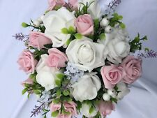 Wedding Posy Bouquet White Lavender & Vintage Pink , White Roses & White Berries