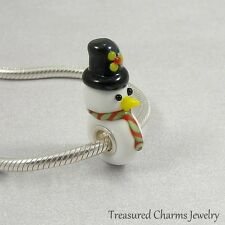 Snowman Christmas Lampwork Glass Large Hole Bead Charm fits European Bracelets