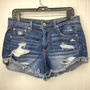 American Eagle Tomgirl Hi-Rise Shortie Sz 10 Denim Jean Shorts Distress Holes