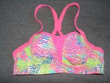 VSX Sports Bra Victoria's Secret 34 B Neon Colorful Work Out Yoga SEXY VS EUC UW