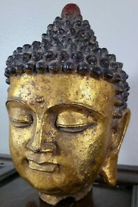 Antique Chinese Gilt Buddha Head Cast Iron Amitabha Bust Qing Dynasty 19th C