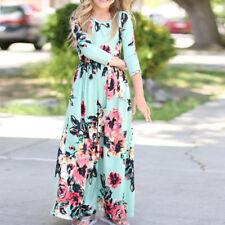 Mother Daughter Dresses Women Kids Girls Floral Long Maxi Dress Matching Clothes