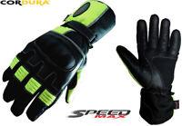 MENS BLACK HiViz SPEED MAXX CE MOTORBIKE / MOTORCYCLE / MOTOCROSS TEXTILE GLOVES