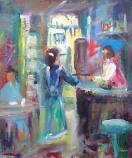 LEON Goodman original huile sur toile Frank's CAFE PEINTURE
