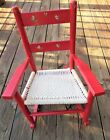 """Vtg Childs / Doll Red Rocking Chair w/ Soft Woven Seat and Decals 22"""" X 16"""""""