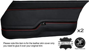 RED STITCH 2X FRONT DOOR CARD LEATHER COVERS FITS MAZDA RX7 FB SERIES 2 81-83