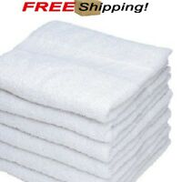 6 white cotton hotel bath towels 20x40 new soft absorbent spa salon supply gym