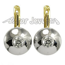 Russian style Earrings 14k Yellow and White Gold Diamonds .70 ct.t.w. G-SI2-I1