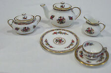 DISCONTINUED COALPORT MING ROSE PATTERN MINI / MINIATURE 8 PC TEA FOR 1 SET NEW