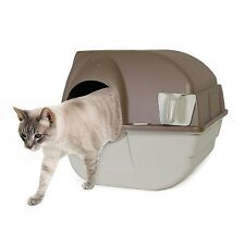 Omega Paw Self-Cleaning Litter Box Regular Taupe Cat Kitten Pet Roll & Clean NEW