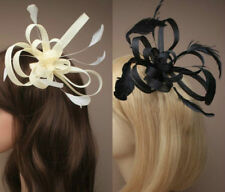 Fascinator Comb in Black or Cream with feathers for weddings , ladies day,choice