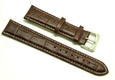 20mm Brown Alligator Grain Leather Watch Band Silver Tone Buckle Fit All 20mm