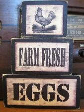 Farm Fresh Eggs Hen Chicken Primitive Rustic Stacking Blocks Wooden Sign Set