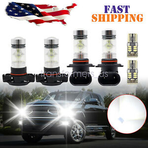 6x White LED For 2007-14 Cadillac Escalade Fog Driving DRL Light Bulbs Combo Kit