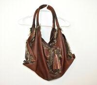 Jessica Simpson Purse Shoulder Bag Hobo Faux Fur Brown Tassel Large