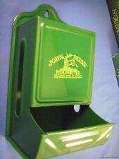 VINTAGE NEW METAL TIN JOHN DEERE TRACTOR  WOOD MATCH MATCHBOX HOLDER BOX deer