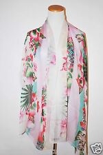 NWT AUTHENTIC KENZO OBOLONG FLOWER FLORAL PINK SILK CLIFFON ITALY WOMEN SCARF