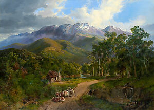 Nicholas Chevalier - The Buffalo Ranges, Australian Art Poster, Canvas Print