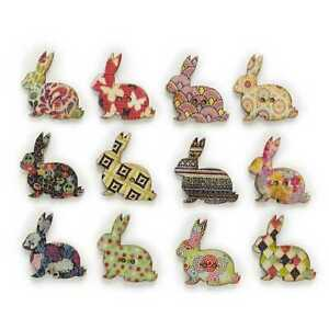30pcs Rabbit Wood Buttons for Sewing Scrapbooking Clothing Headwear Decor 30mm