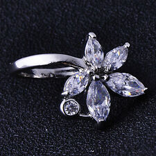 Clasic Chic Womens White Gold Filled Cubic Zirconia Flower Band Ring Size 6.5
