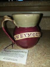 Healing Touch Pottery Hand Made Mug Cup Burgundy & Beige USA W/ stone on handle