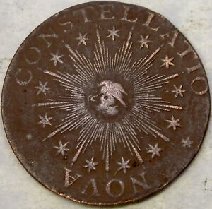 1783 NOVA CONSTELLATIO COPPER CENT SCARCE POST—COLONIAL ISSUE POINTED RAYS SMALL