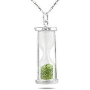 0.75 Carat Genuine Peridot Dust Time Hourglass Pendant .925 Sterling Silver