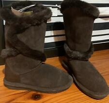 BEARPAW WOMEN'S SHELLY Tall SHEARLING BOOTS BROWN GENUINE SUEDE Sz 6 NEW