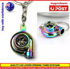 TURBO KEYCHAIN NEO NEOCHROME KEYRING RAINBOW METAL TURBOCHARGER AUS STOCK