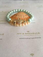 Glass Pearl Aqua With Gold Tone Seahorse Connector Beaded Stretch Bracelet
