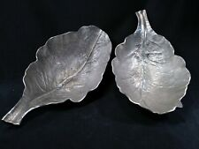 """18""""  PAIR OF GIANT LEAF PLATTER BOWLS PEWTER ALUMINUM~PARTY~WEDDINGS~FREE SHIP"""