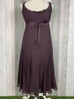 Ted Baker 100% Silk Deep Purple Ruffle Bow A-Line Babydoll Dress Size UK L 14