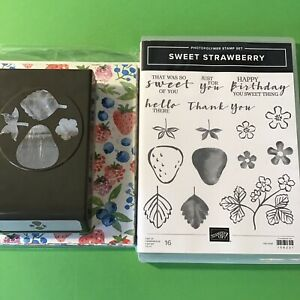 Stampin UP Sweet Strawberry Stamp Set & Matching Strawberry Builder Punch & DSP