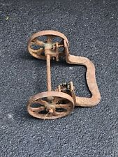 """Vintage Cast Iron Factory Cart 7-1/2"""" Wheels and Axle Set Dolly Industrial"""