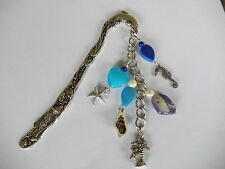 Sea theme shells sea horse blue beads starfish palm tree love the beach bookmark