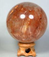 Natural RED FIRE QUARTZ Hematoid Crystal PHANTOM MULTI-INCLUSIONS Sphere/Stand